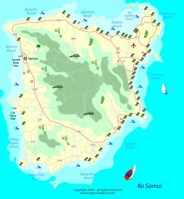 map of koh samui, chaweng beach, lamai beach, big buddha beach, maenam beach, bophut beach, taling ngam, lipa noi, gulf of thailand, thailand travel map