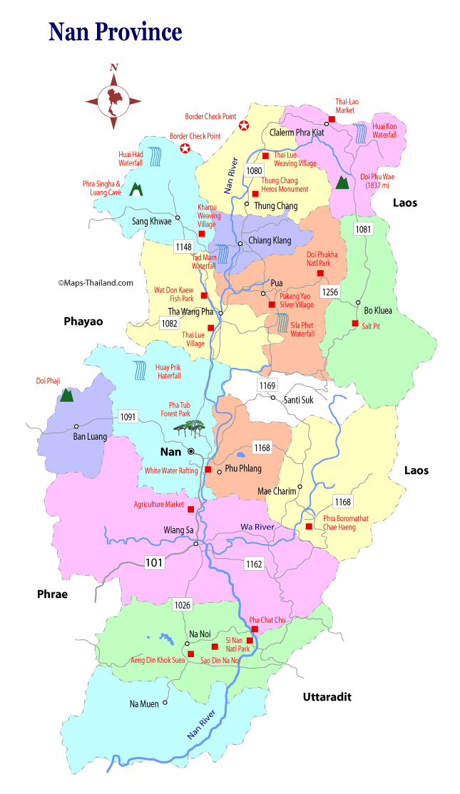 Travel map of Nan Province in Northern Thailand