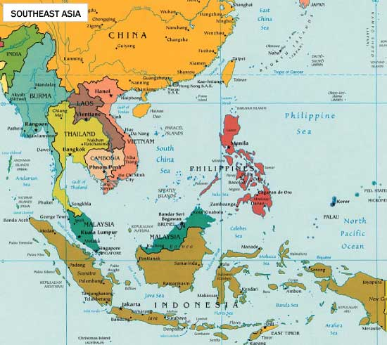 South East Southeast Asia Map